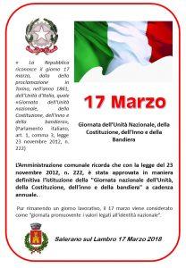 SABATO 17 MARZO GIORNATA DELL'UNITA' NAZIONALE