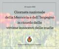 21 marzo 2021 Giornata nazionale della Memoria e dell'Impegno in ricordo delle vittime innocenti delle mafie