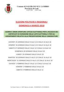 ELEZIONI POLITICHE E REGIONALI 4 MARZO 2018 - ORARI DELL'UFFICIO ELETTORALE