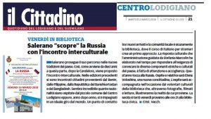 """Salerano incontra la Russia. L'annuncio anche su """"Il Cittadino""""  di Lodi"""