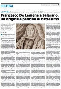 CULTURA - FRANCESCO DE LEMENE A SALERANO