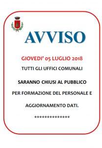 AVVISO DI CHIUSURA UFFICI COMUNALI GIOVEDI 5 LUGLIO 2018