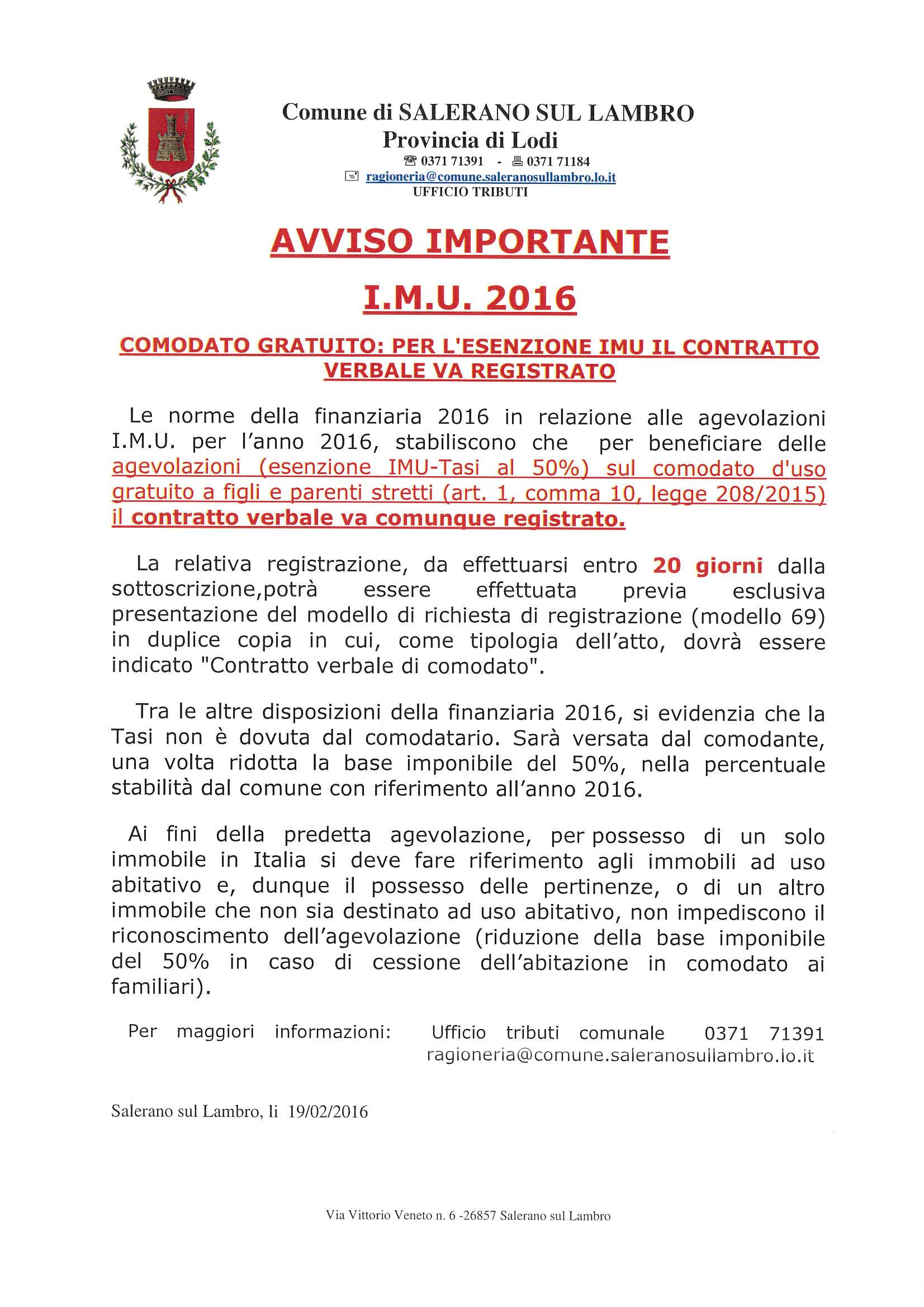 Comodato gratuito norme per beneficiare delle agevolazioni for Comodato gratuito imu