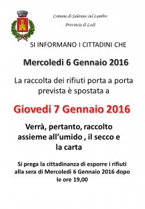 AVVISO RACCOLTA RIFIUTI 6 GENNAIO