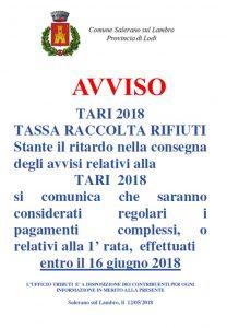 SCADENZA TASSA RACCOLTA RIFIUTI 2018