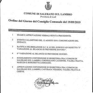 E' convocato il Consiglio Comunale il 19/9/19