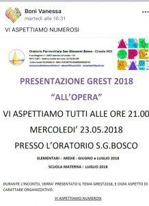 """""""ALLOpera"""" il tema del GREST 2018. Presentazione il 23 maggio ore 21 in Oratorio"""