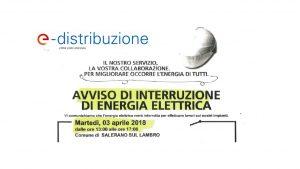 Avviso di interruzione di energia elettrica- Martedì 3 Aprile 2018 dalle 13 alle 17
