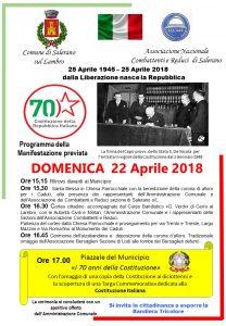 Domenica 22 Aprile 2018 - Si ricorda la fine della guerra di Liberazione e 70esimo della Costituzione