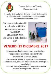 VENERDI 29 DICEMBRE 2017 RACCOLTA STRAORDINARIA DEL VETRO