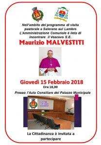 GIOVEDI 15 FEBBRAIO IL VESCOVO INCONTRA L'AMMINISTRAZIONE COMUNALE
