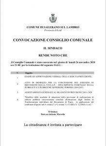 Convocato il Consiglio Comunale per il 26/11 alle ore 21