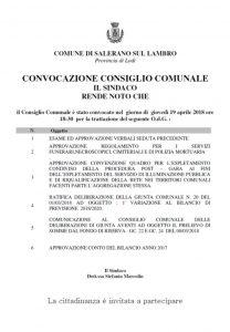 CONVOCAZIONE CONSIGLIO COMUNALE - GIOVEDI' 19 APRILE ORE 18,30