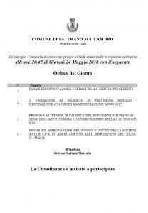 Convocazione Consiglio Comunale Giovedì 24 Maggio 2018
