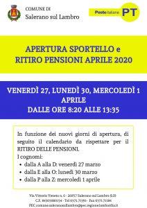 Giorni e orari di apertura ufficio postale e calendario per il ritiro delle pensioni del mese di aprile