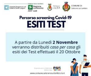Percorso screening Covid-19: RISULTATI TEST