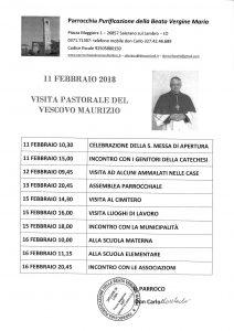 DAL PROSSIMO 11 FEBBRAIO LA  VISITA DI MONS. VESCOVO