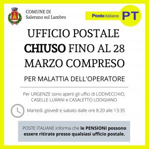 CHIUSURA UFFICIO POSTALE FINO AL 28 MARZO COMPRESO